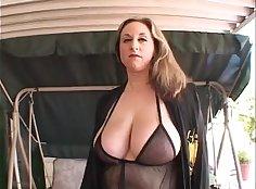 Busty Mature Wife Enjoying Orgasm On Cat