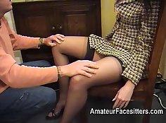 Omorashi facesitting Eita in her stockings porn video