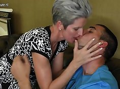Cuck mom shakes her hard cock for her son