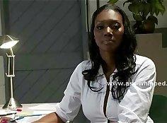 Bosomy ebony nurse teaches brunet lesbos every moves