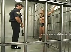Blonde slave gets sexy outfit naked