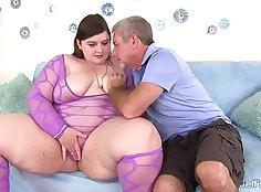 Blonde fat girl Lavish rides tired shaft doggyprong highly