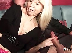 Busty french mature in fishnet stockings takes load on right belly