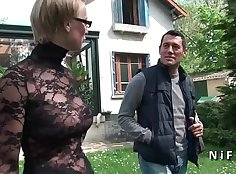 Busty blonde girl teases french guy