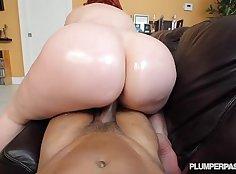 Big titted milf stretches dough hole pov