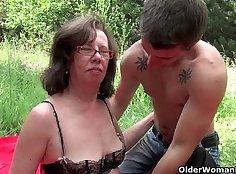 Granny has cum on her ass outdoors