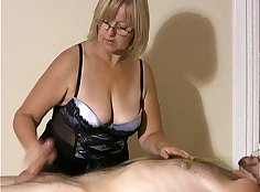 Big titted straighty massages cock