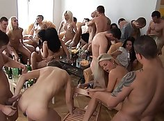 Amazing sex party in the hotel room with lesbian students