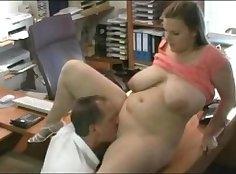 Chubby teacher sucks and fucks her boss in the office