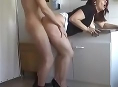 Real redhead mom giving BJs to Son