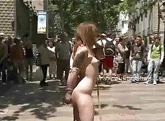 Horny brunette outdoor public fuck