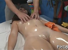 Babe gets pounded while massage