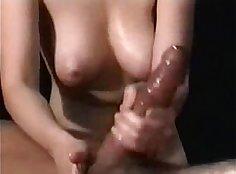 Handjob oil massage with big smile