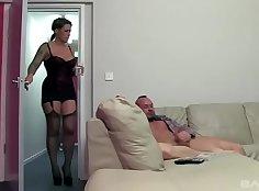 British slut Katie gets nutted then fucked