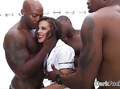 Brutal anal gangbang cumshot by big dick