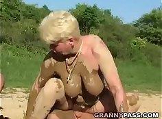 Fur pie addict mature fucked hard in threesome