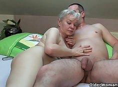 Cute blonde Jelena & Grandma Banged