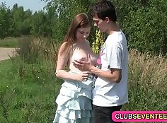 Beefcake cabbie invites busty teen caught during outdoor