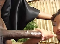 Interracial anal loving asian tricked out by black guy