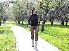 Flashing in pantyhose in public