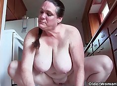 Big tits naked granny in wet blue dress