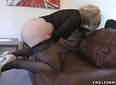 British milf stocking her tight asshole and masturbates her cunt with pecker