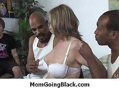 Ebony mom showering with cocks