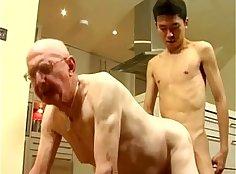 Asian boys toying white hunk