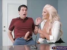 blonde woman with huge tits wearing high heels