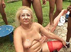 Big Tits Girl Put Gang Bang On Granny With Fake Tits