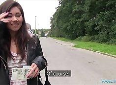 Cute Asian girl bangs in public for cash